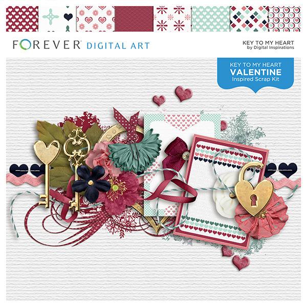 Key To My Heart Digital Art - Digital Scrapbooking Kits