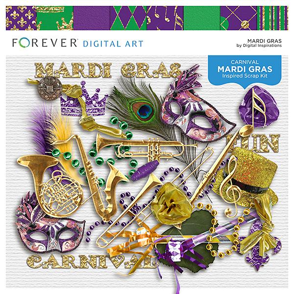 Mardi Gras Digital Art - Digital Scrapbooking Kits