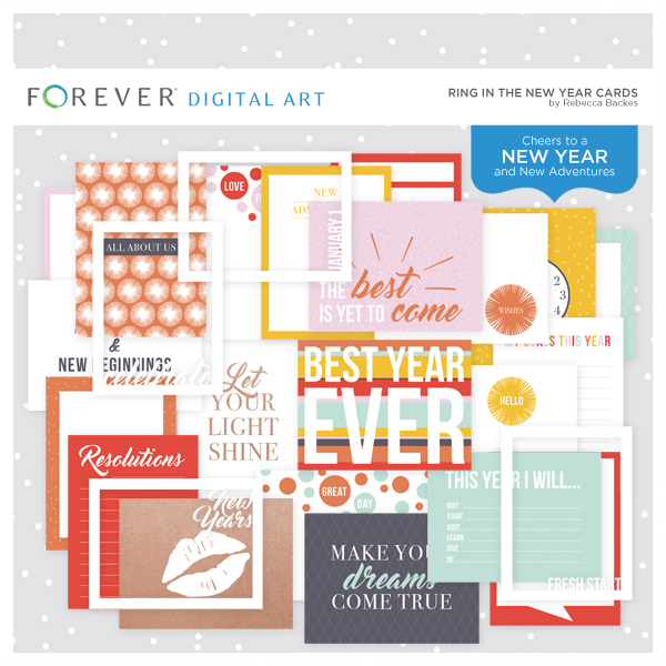 Ring In The New Year Cards Digital Art - Digital Scrapbooking Kits