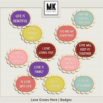 Love Grows Here - Badges Digital Art - Digital Scrapbooking Kits