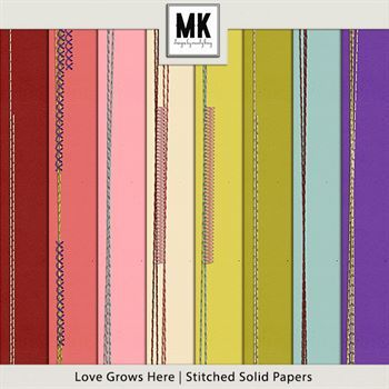 Love Grows Here - Stitched Solid Papers Digital Art - Digital Scrapbooking Kits