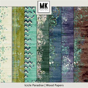 Icicle Paradise - Wood Papers Digital Art - Digital Scrapbooking Kits