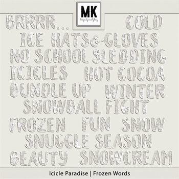 Icicle Paradise - Frozen Words Digital Art - Digital Scrapbooking Kits