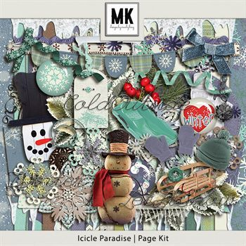 Icicle Paradise - Page Kit Digital Art - Digital Scrapbooking Kits