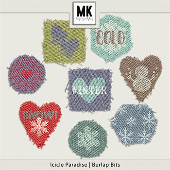 Icicle Paradise - Burlap Bits Digital Art - Digital Scrapbooking Kits