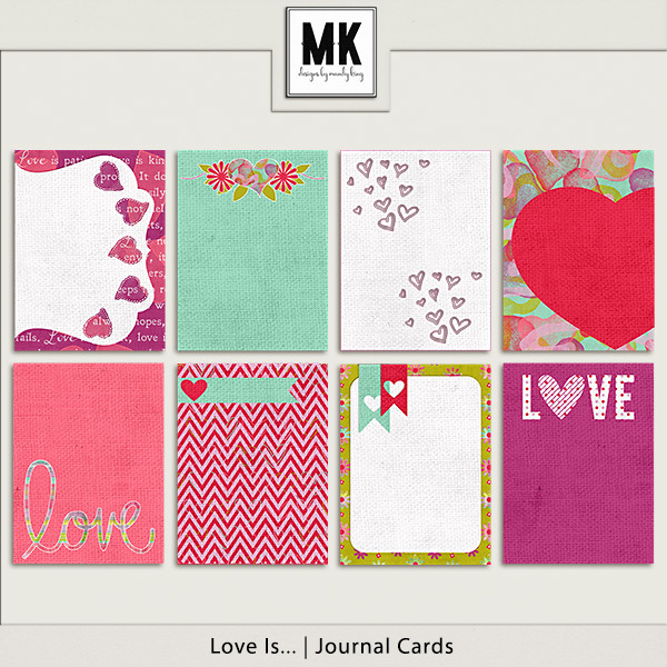 Love Is - Journal Cards Digital Art - Digital Scrapbooking Kits