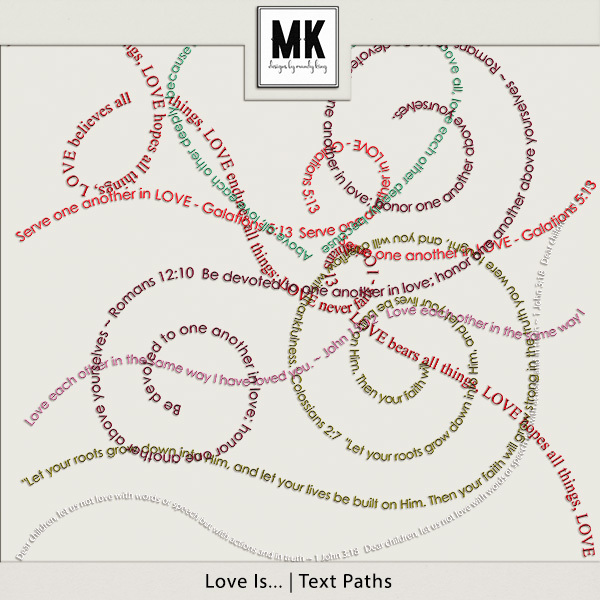 Love Is - Text Paths Digital Art - Digital Scrapbooking Kits