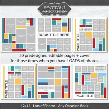 Lots Of Photos 12x12 Predesigned Editable Book Digital Art - Digital Scrapbooking Kits