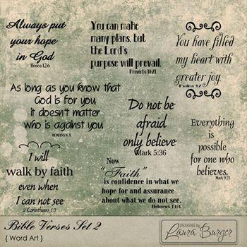 Bible Verses Set 2 Digital Art - Digital Scrapbooking Kits