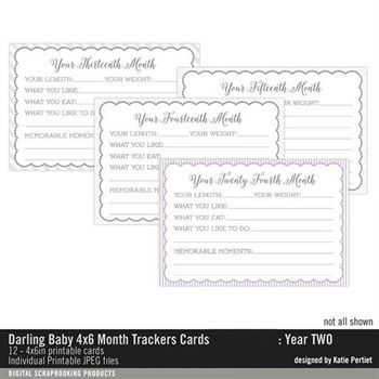 Darling Baby 4x6 Month Trackers Year Two Cards Digital Art - Digital Scrapbooking Kits