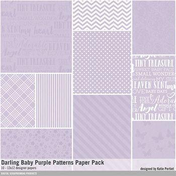 Darling Baby Purple Patterned Paper Pack Digital Art - Digital Scrapbooking Kits