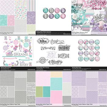 Darling Baby Scrapbooking Collection No. 01 Digital Art - Digital Scrapbooking Kits