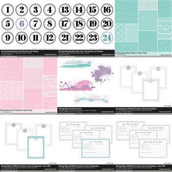 Darling Baby Scrapbooking Collection No. 02 Digital Art - Digital Scrapbooking Kits