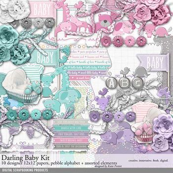 Darling Baby Scrapbooking Kit Digital Art - Digital Scrapbooking Kits