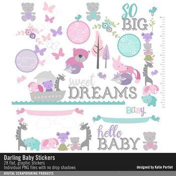 Darling Baby Stickers Digital Art - Digital Scrapbooking Kits