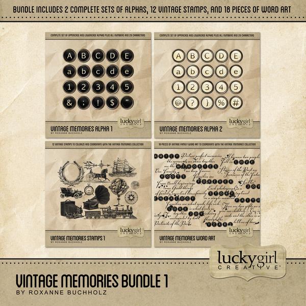 Vintage Memories Bundle 1 Digital Art - Digital Scrapbooking Kits