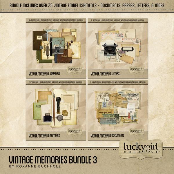 Vintage Memories Bundle 3 Digital Art - Digital Scrapbooking Kits