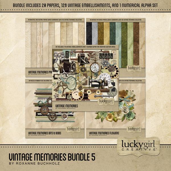 Vintage Memories Bundle 5 Digital Art - Digital Scrapbooking Kits