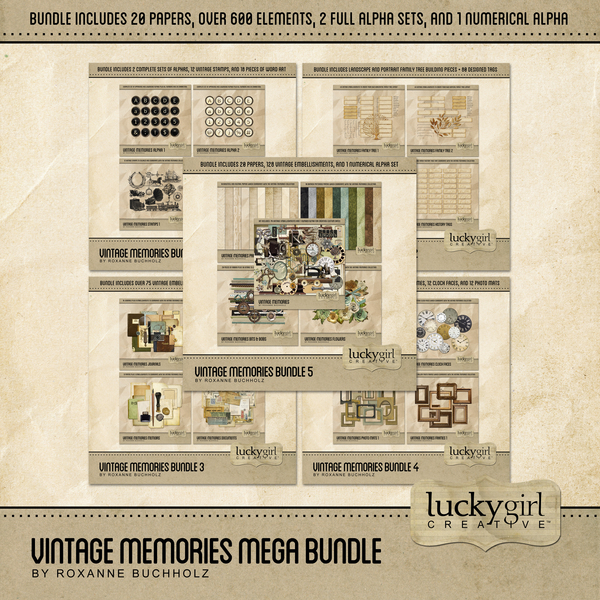 Vintage Memories Mega Bundle Digital Art - Digital Scrapbooking Kits