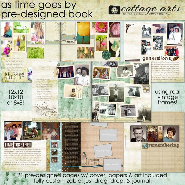 As Time Goes By 12x12 Pre-designed Book Digital Art - Digital Scrapbooking Kits
