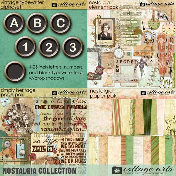 Nostalgia Collection Digital Art - Digital Scrapbooking Kits