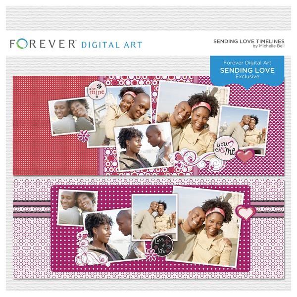 Sending Love Timelines Digital Art - Digital Scrapbooking Kits