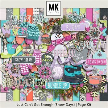 Just Can't Get Enough Snow Days - Page Kit Digital Art - Digital Scrapbooking Kits