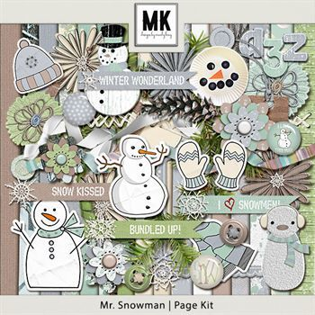 Mr. Snowman - Page Kit Digital Art - Digital Scrapbooking Kits