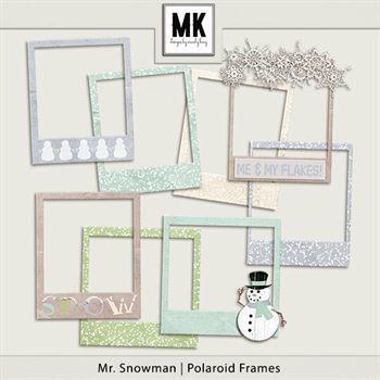 Mr. Snowman - Polaroid Frames Digital Art - Digital Scrapbooking Kits