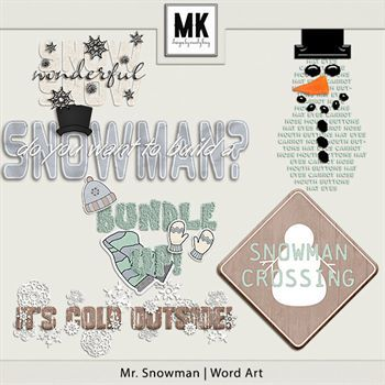 Mr. Snowman - Word Art Digital Art - Digital Scrapbooking Kits