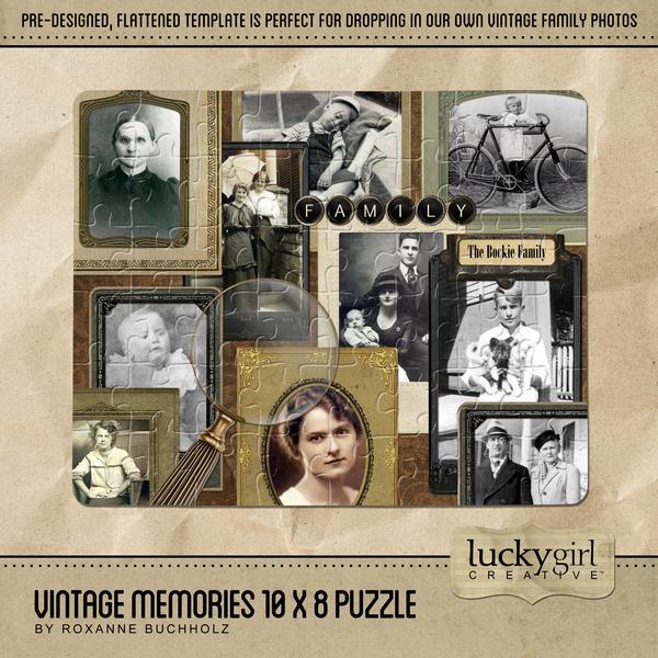 Vintage Memories 10 X 8 Puzzle Digital Art - Digital Scrapbooking Kits