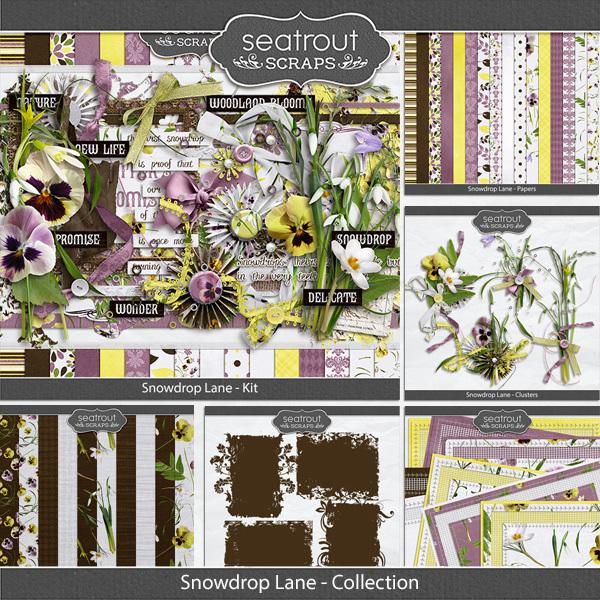 Snowdrop Lane Discounted Bundle Digital Art - Digital Scrapbooking Kits