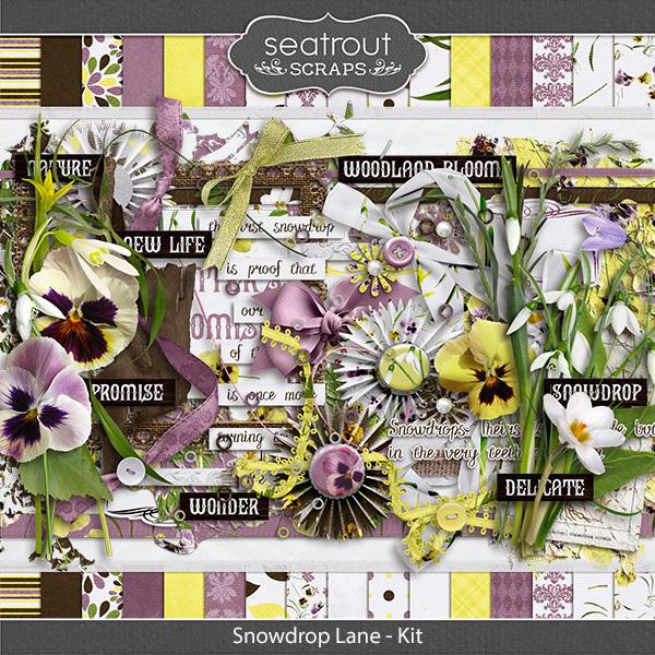 Snowdrop Lane Kit Digital Art - Digital Scrapbooking Kits