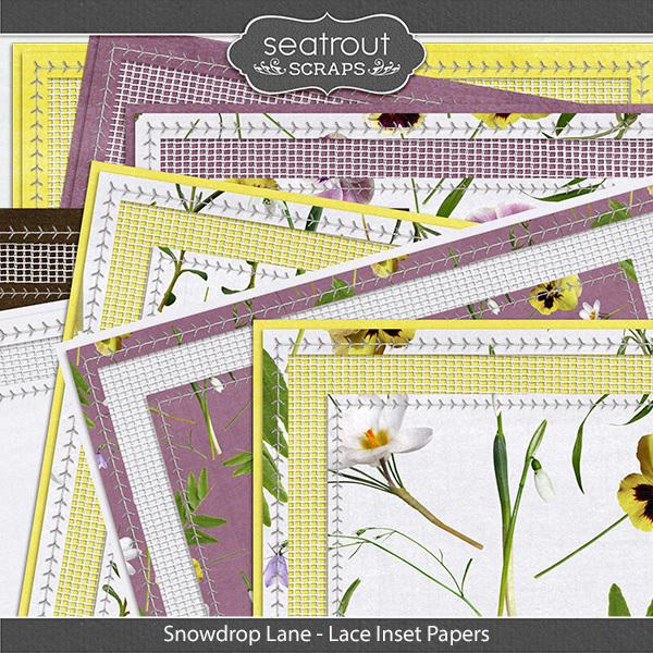 Snowdrop Lane Lace Inset Papers Digital Art - Digital Scrapbooking Kits