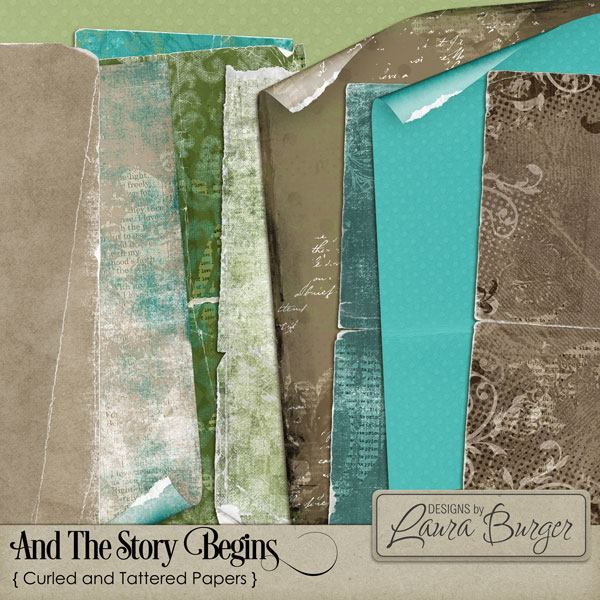 And The Story Begins Curled & Tattered Papers Digital Art - Digital Scrapbooking Kits