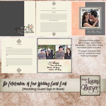Celebration Of Love Guest Wedding Book Digital Art - Digital Scrapbooking Kits