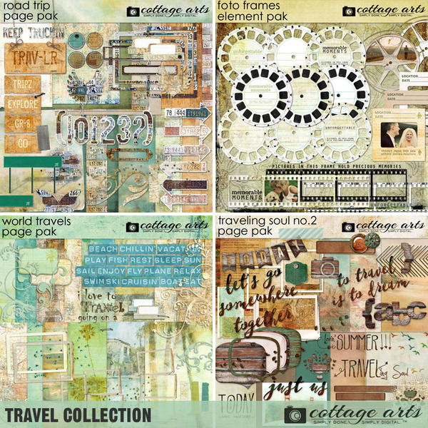 Travel Collection Digital Art - Digital Scrapbooking Kits