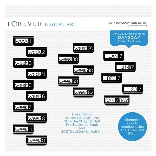 2017 Day2Day Add On Kit Digital Art - Digital Scrapbooking Kits