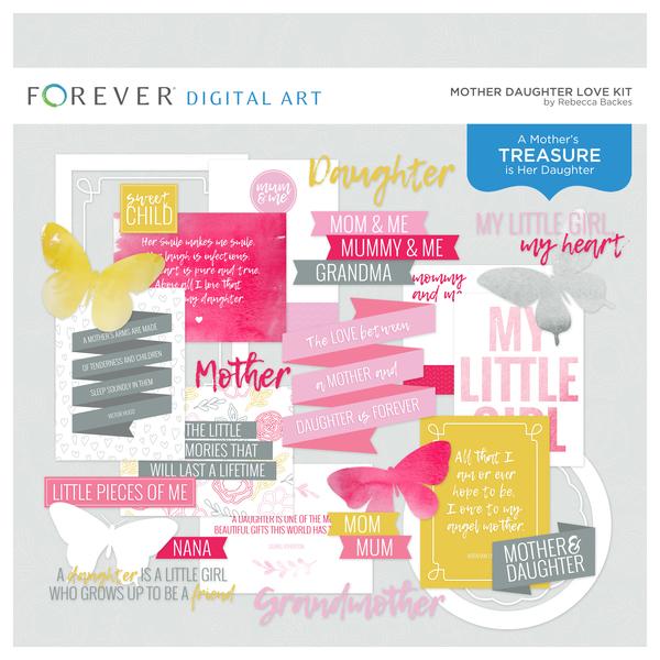 Mother Daughter Love Kit Digital Art - Digital Scrapbooking Kits