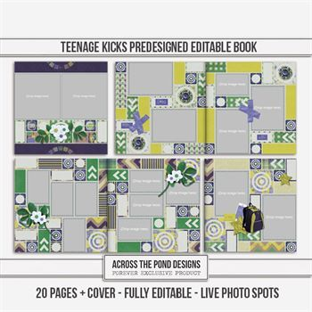 Teenage Kicks Predesigned Editable Book Digital Art - Digital Scrapbooking Kits