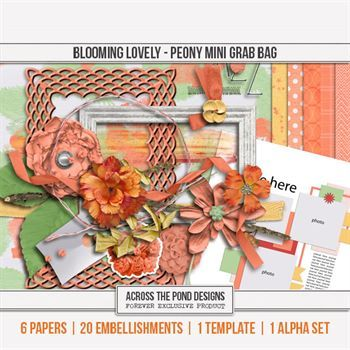 Blooming Lovely - Peony Mini Grab Bag Digital Art - Digital Scrapbooking Kits