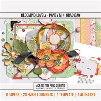 Blooming Lovely - Pansy Mini Grab Bag Digital Art - Digital Scrapbooking Kits