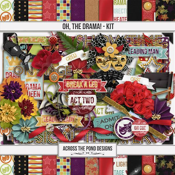 Oh, The Drama - Page Kit Digital Art - Digital Scrapbooking Kits