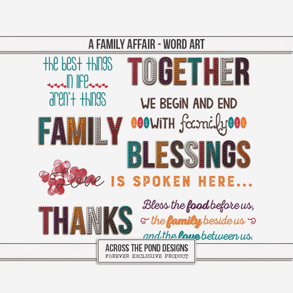 A Family Affair - Word Art Digital Art - Digital Scrapbooking Kits