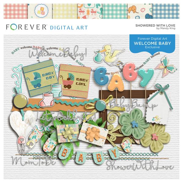 Showered With Love Digital Art - Digital Scrapbooking Kits