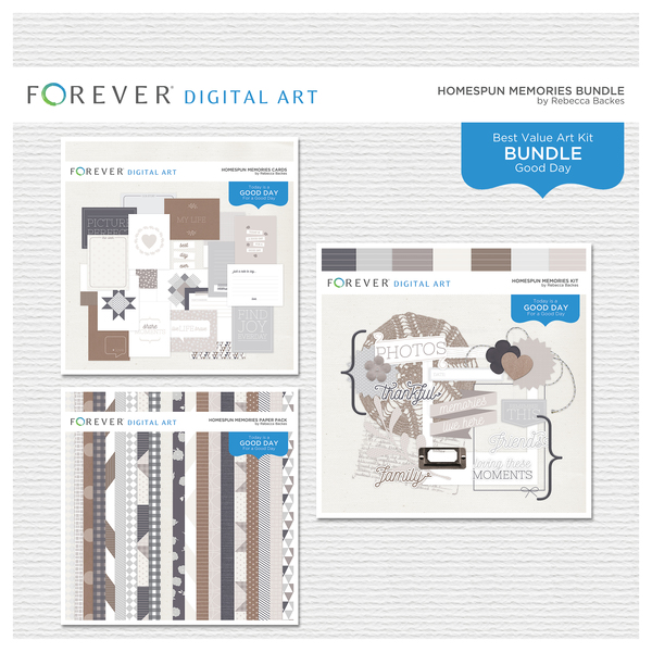 Homespun Memories Bundle Digital Art - Digital Scrapbooking Kits
