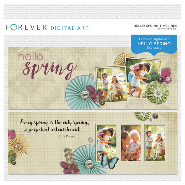 Hello Spring Timelines Digital Art - Digital Scrapbooking Kits