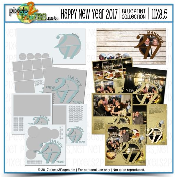 11x8.5 Happy New Year 2017 Blueprint Collection Digital Art - Digital Scrapbooking Kits