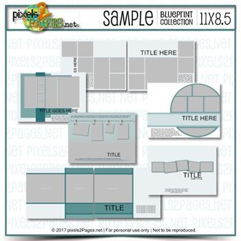 11x8.5 Sample Blueprint Collection Digital Art - Digital Scrapbooking Kits