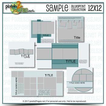 12x12 Sample Blueprint Collection Digital Art - Digital Scrapbooking Kits